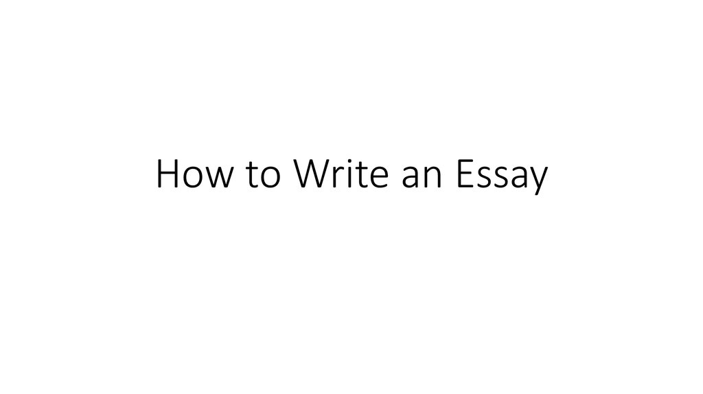 how to write and english essay