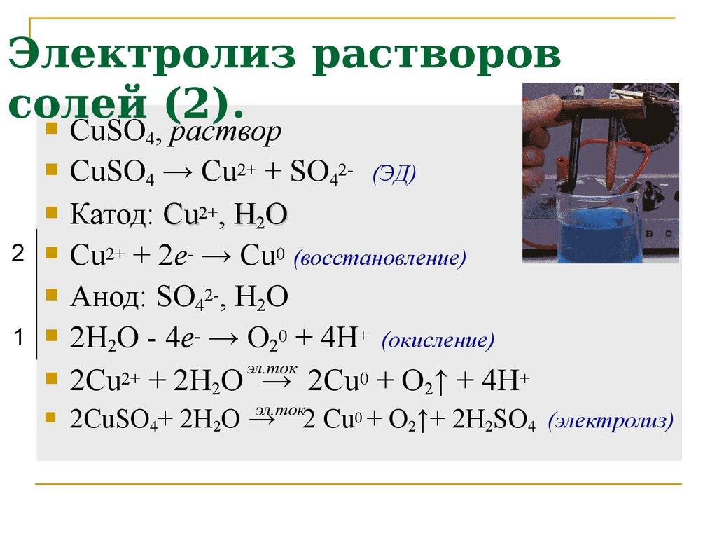 Составить схемы электролиза растворов и расплавов солей