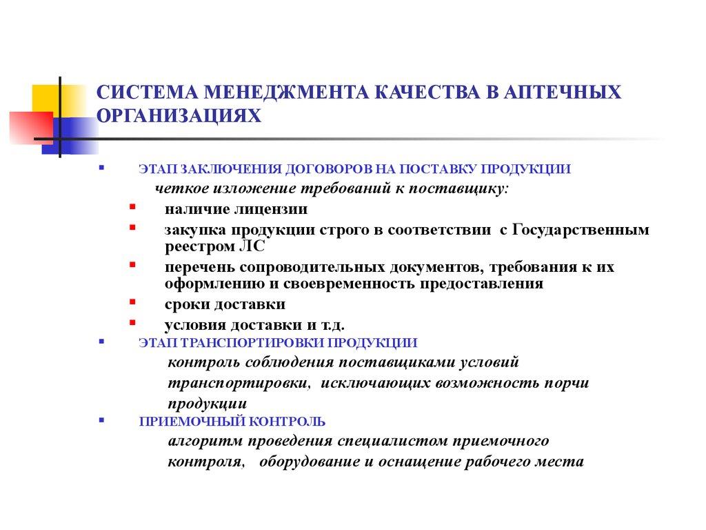 система менеджмента качества в аптечных организациях