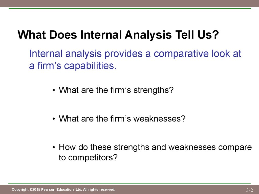 chapter 3 evaluating a firm s internal capabilities презентация what does internal analysis tell us internal analysis provides a comparative look at a firm s capabilities what are the firm s strengths