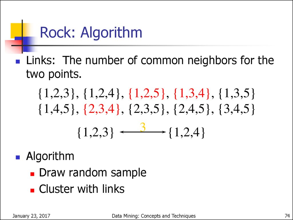 Clustering Categorical Data: ROCK