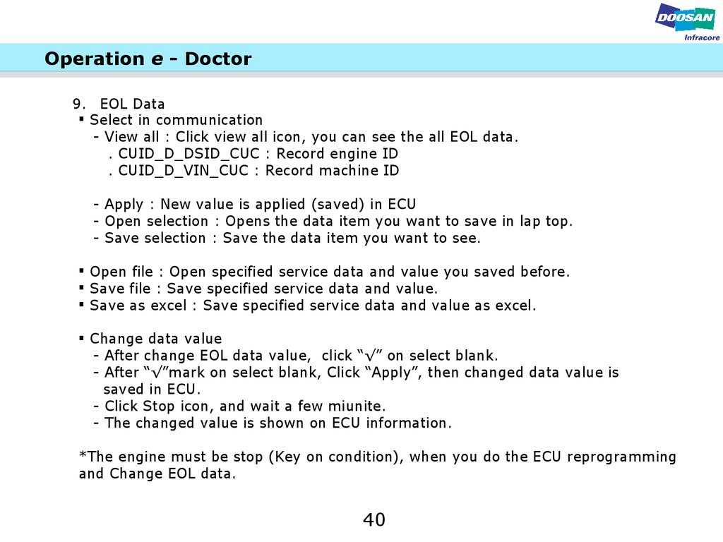 e doctor user s manual  operation e doctor 9 eol data select in communication view all click view all icon you can see the all eol data