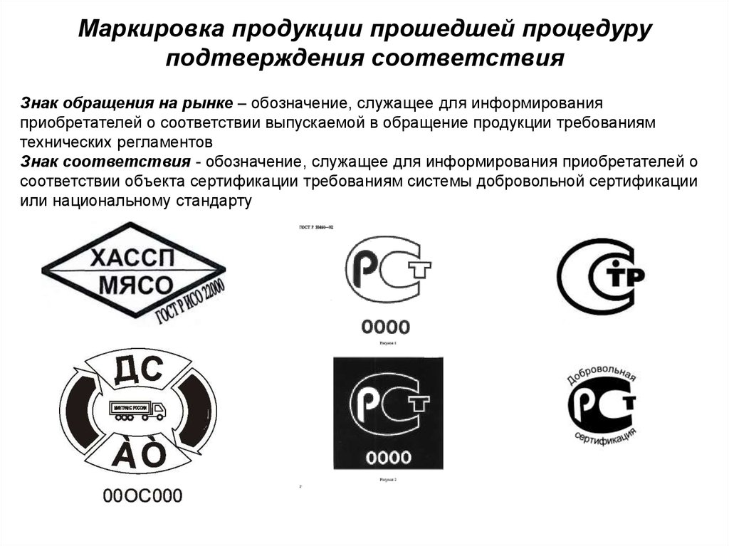 Требование по маркировки продукции знаком соответствия