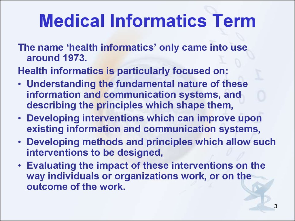 Introduction In Medical Informatics Online Presentation