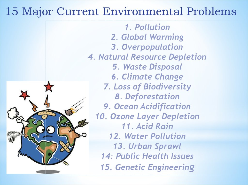 the issues of overpopulation pollution and ozone depletion in the environment The global environment includes aspects of the environment that are globally determined, such as ozone depletion that can affect an individual's health the outdoor environment refers to environmental factors that can directly influence an individual's health, but are specific to that individual's location.