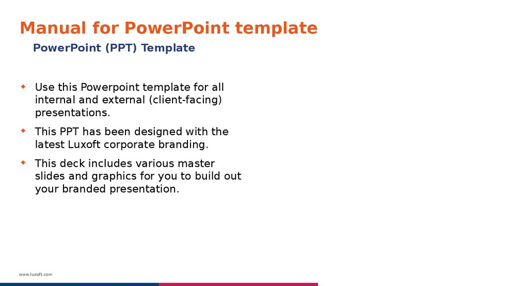 Manual for PowerPoint template – Template for Manual