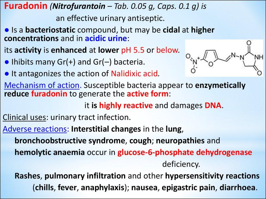 Sulfonamides Fluoroquinolones Oxiquinolines Nitrofurans