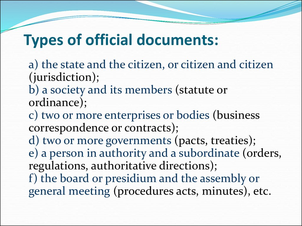 Types of official documents:
