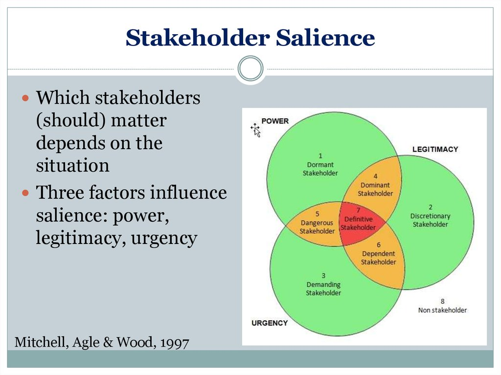 stakeholder salience T academy of management review 1997, vol 22, no 4, 853-886 toward a theory of stakeholder identification and salience: defining the principle of who and what really counts.