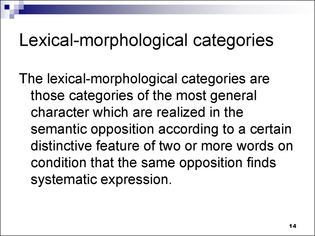 Lexical-morphological categories