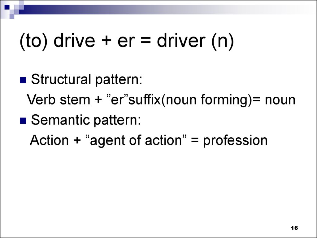 (to) drive + er = driver (n)