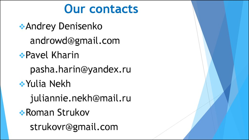 Our contacts