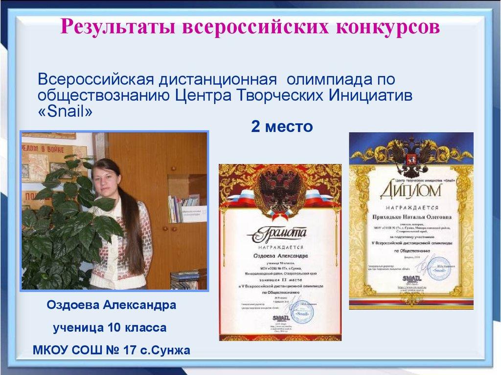 Итоги всероссийского конкурса творческих инициатив
