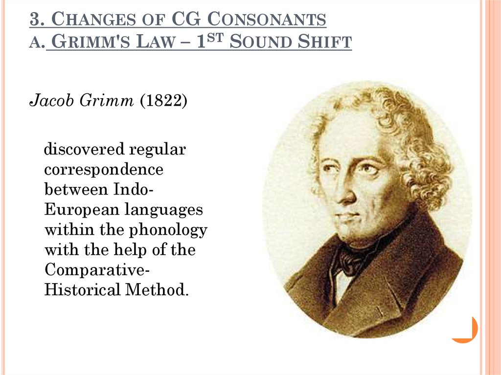 3. Changes of CG Consonants a. Grimm's Law – 1st Sound Shift