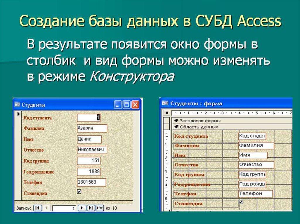 Режим таблицы субд access позволяет