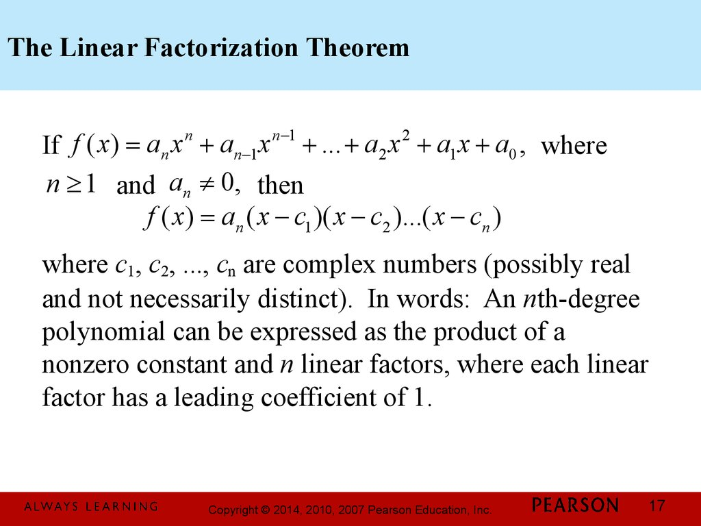 17 The Linear Factorization Theorem