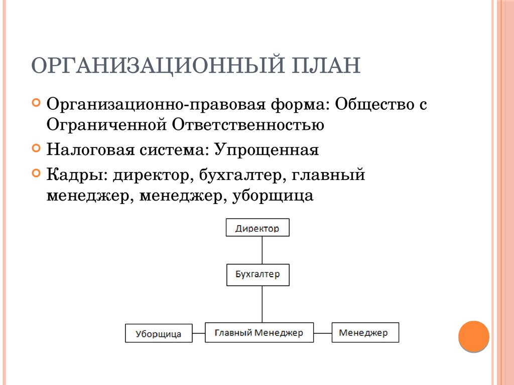 бизнес план. организационный план