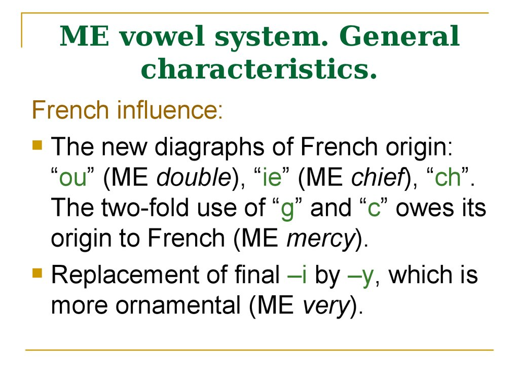 ME vowel system. General characteristics.