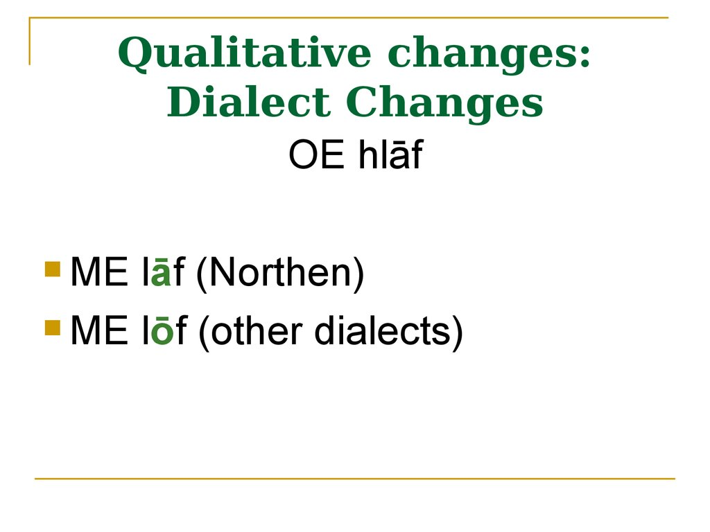 Qualitative changes: Dialect Changes