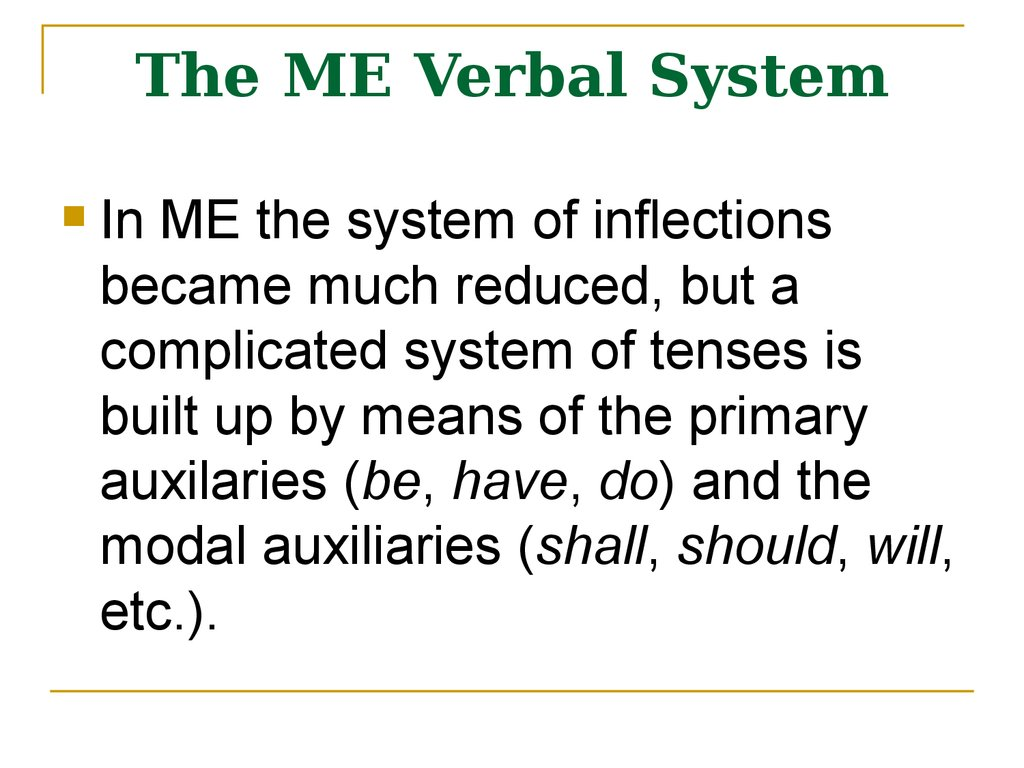 The ME Verbal System