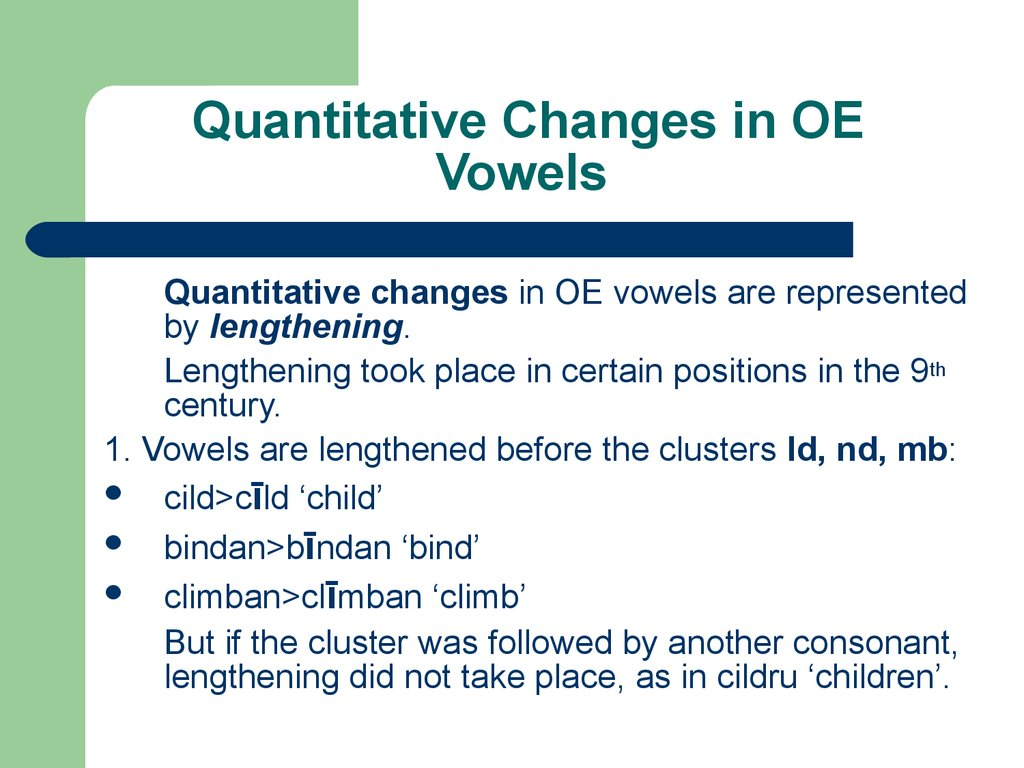 Quantitative Changes in OE Vowels