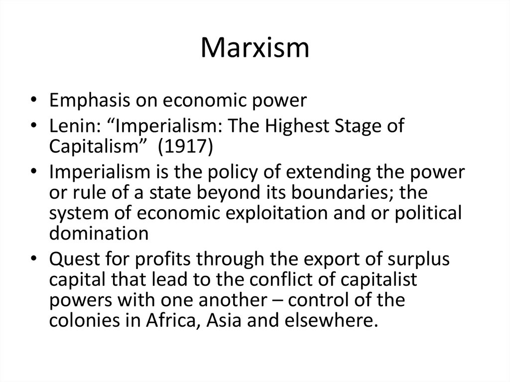 neorealist and neo marxist approaches to globalization Start studying chapter 1 learn to dependency theory and subsequently to neo-marxist analysis that focused on the approaches: globalization.