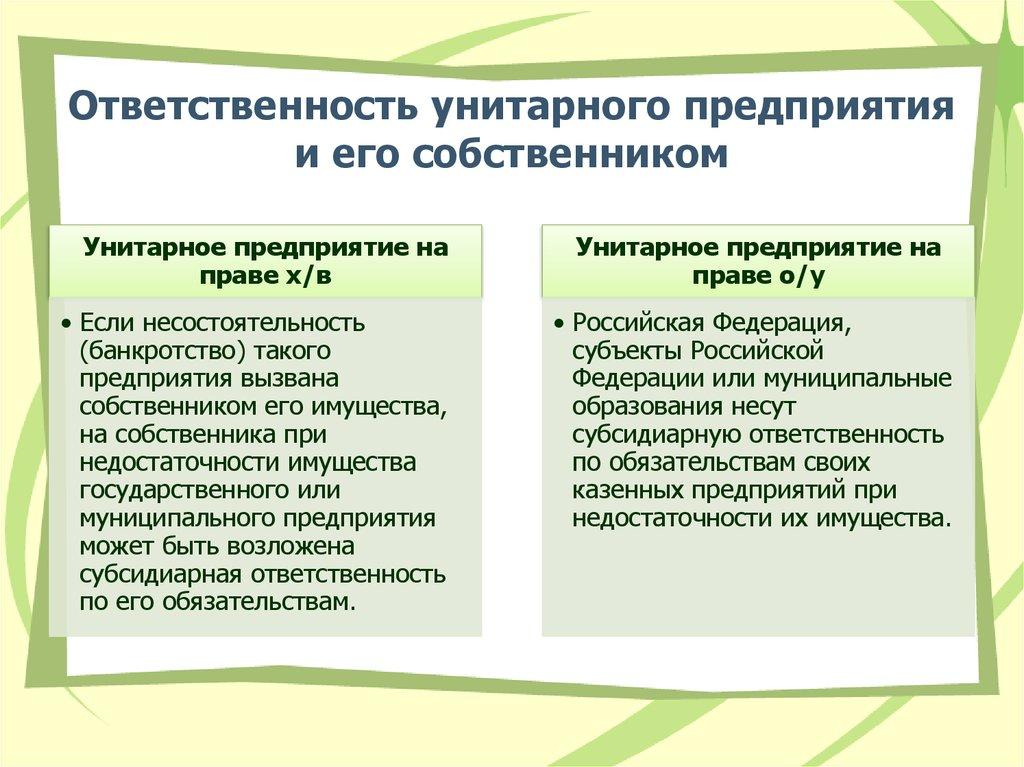 Ответственность и обязательство муниципального унитарного предприятия