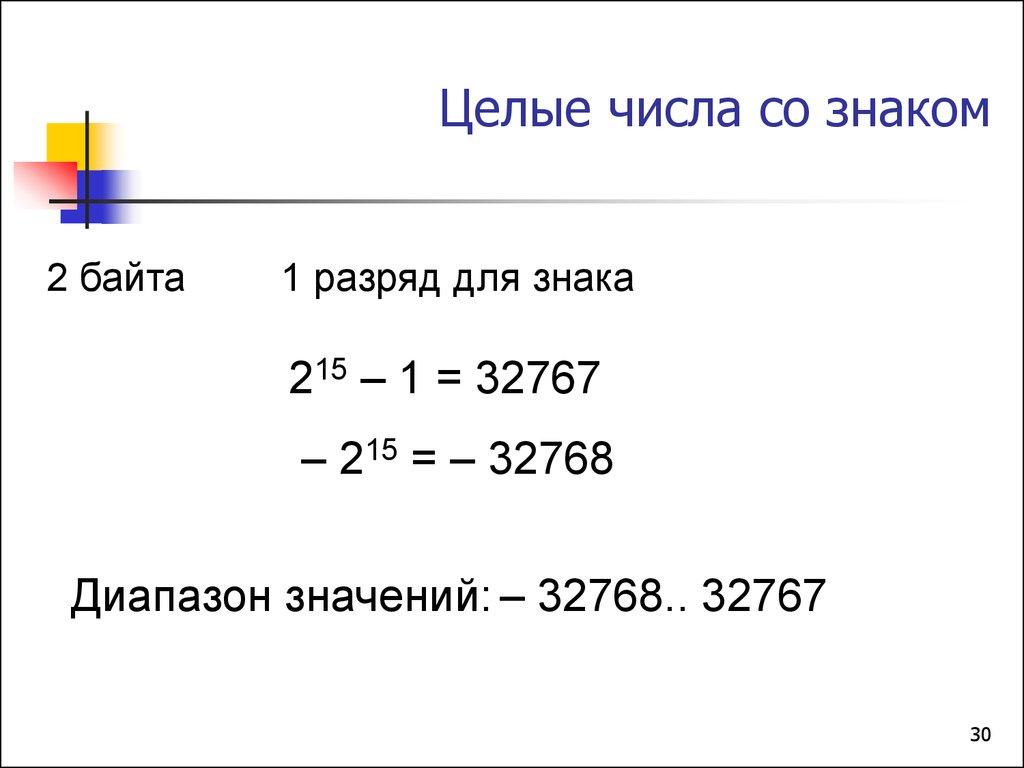 целые числа со знаком представление информации в
