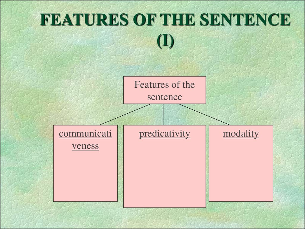 FEATURES OF THE SENTENCE (I)