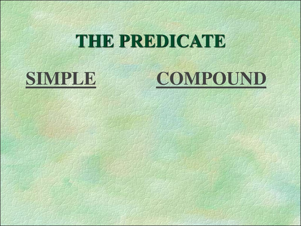 THE PREDICATE