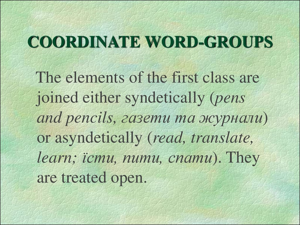 COORDINATE WORD-GROUPS