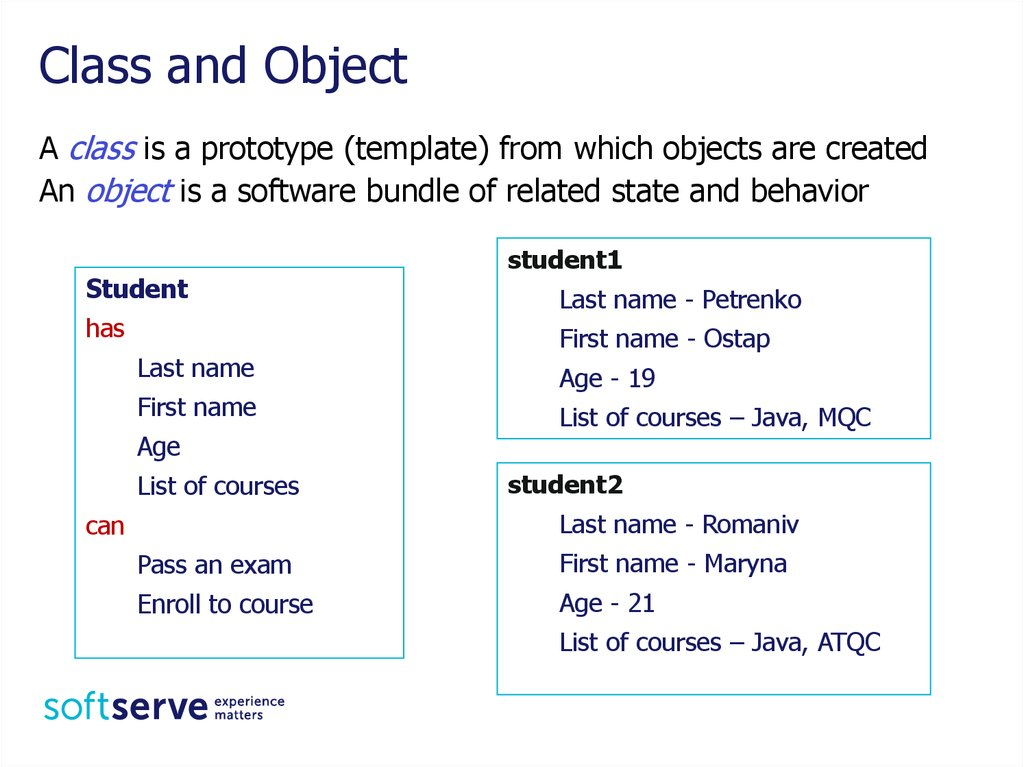 java class and object relationship