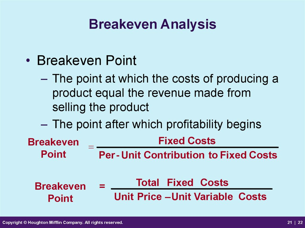 elasticity on demand breakeven analysis and So far we have discussed break-even sales analysis in terms of a single constructing break-even sales curves requires or maximum demand elasticity required to.