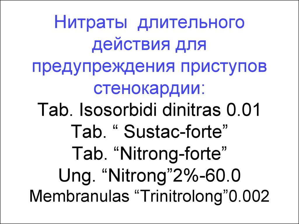 нитраты лекарственные препараты пролонгированного действия