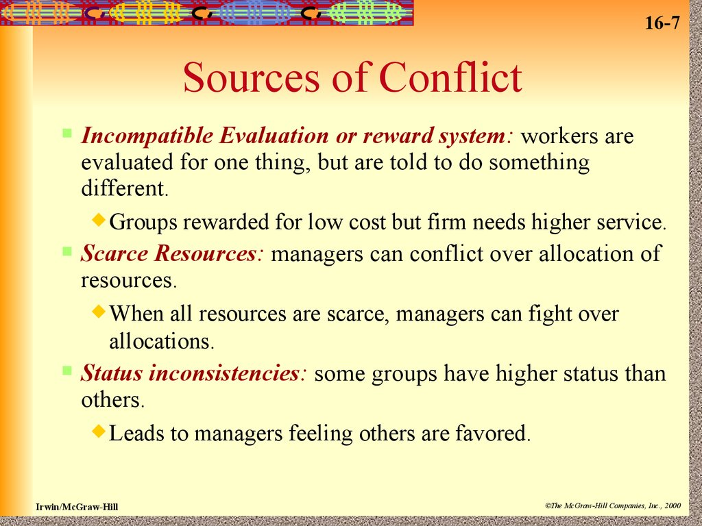 sources of conflict The pain of unresolved conflict can be avoided—but only if the source of the conflict is addressed here are the top 10 hidden sources of conflict at work, how to recognize them and what to do about them.
