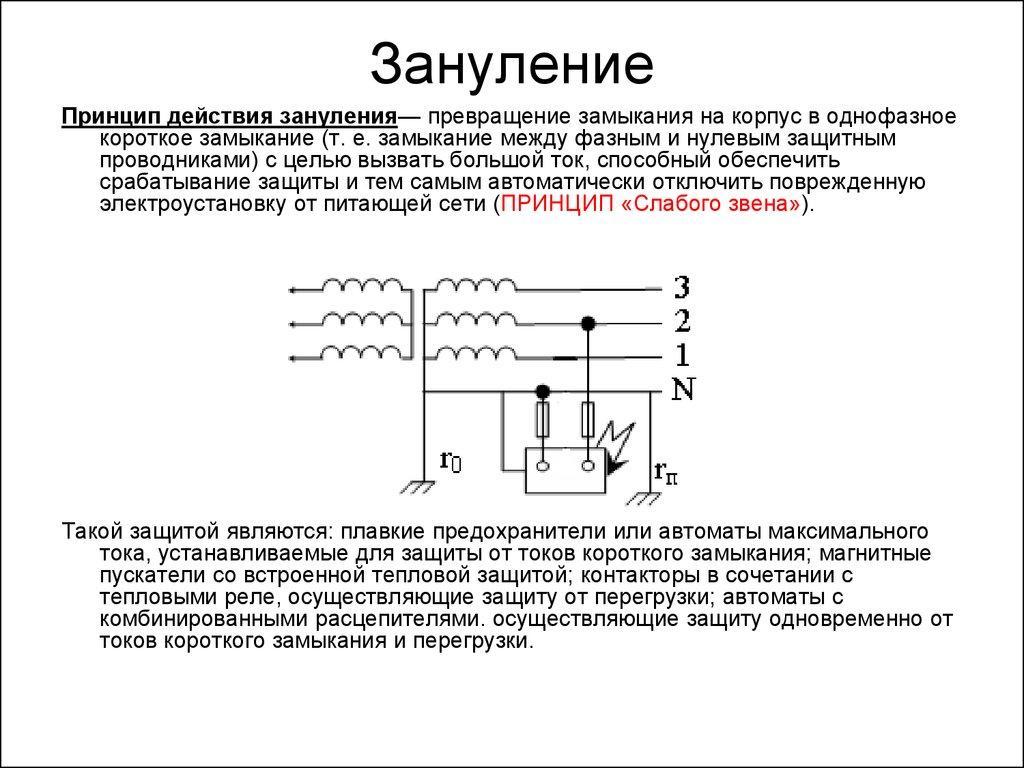 Схемы защитного заземления и зануления