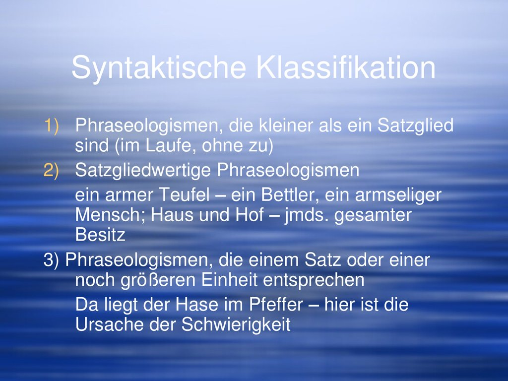 Syntaktische Klassifikation