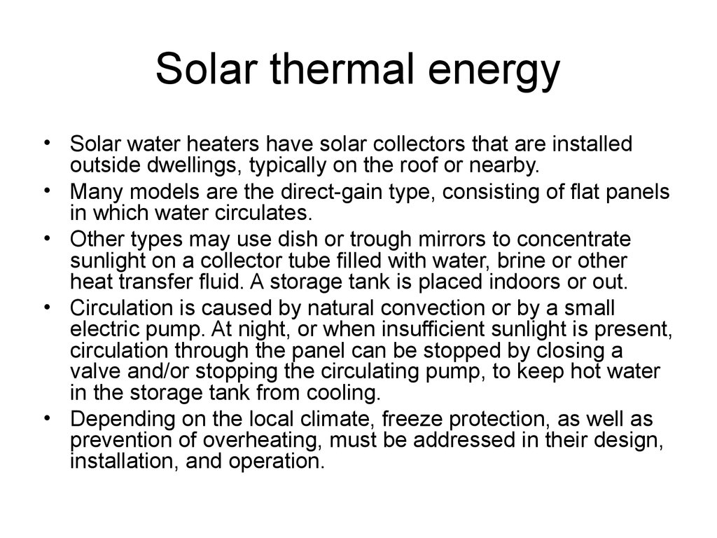 Lecture 7 Solar Thermal Energy 1 Low Potential Heat