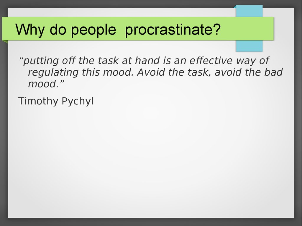 we must work to overcome procrastination essay