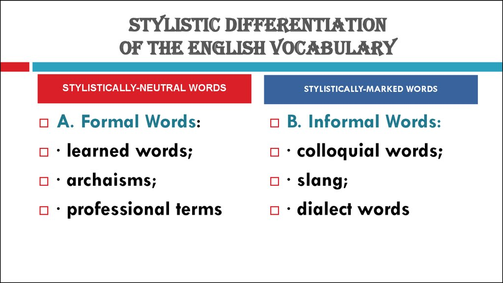 STYLISTIC DIFFERENTIATION OF THE ENGLISH VOCABULARY