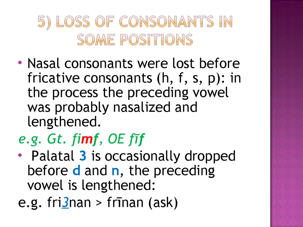 5) Loss of consonants in some positions