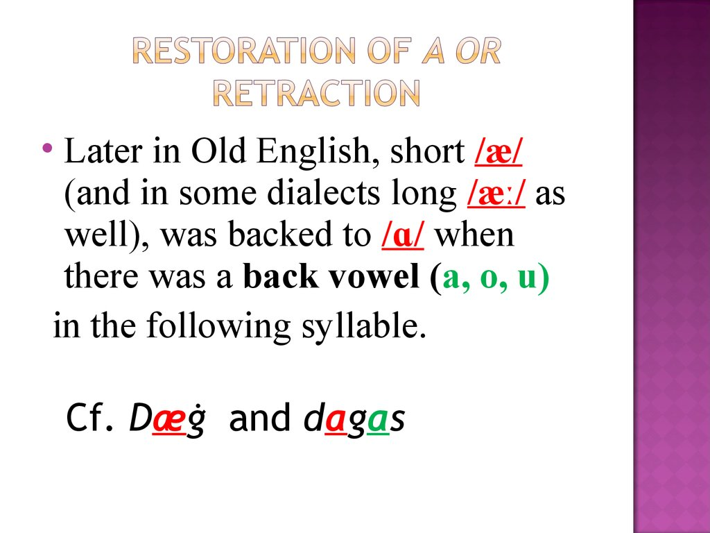 Restoration of a or Retraction