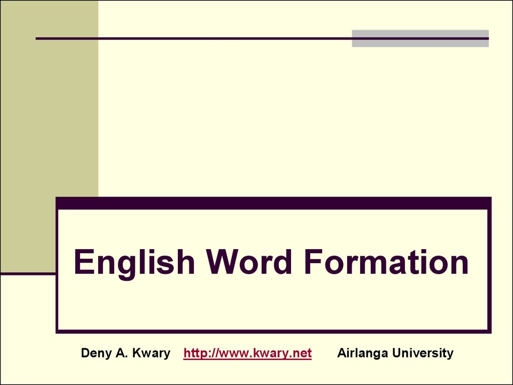 English Word Formation