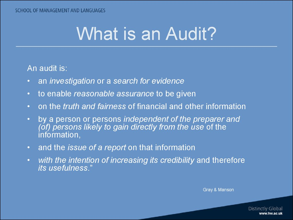 Auditing & assurance. Introduction to course