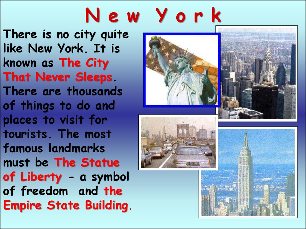 Why travel to the usa online presentation for Famous cities in new york