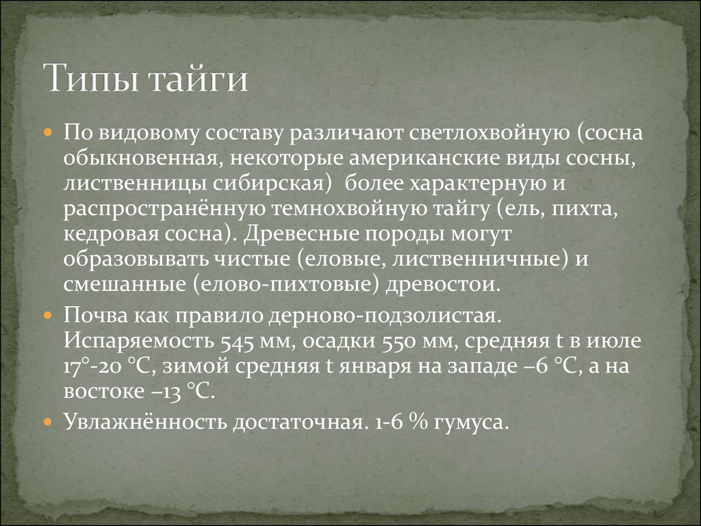 география презентация по теме хвойные леса (тайга)