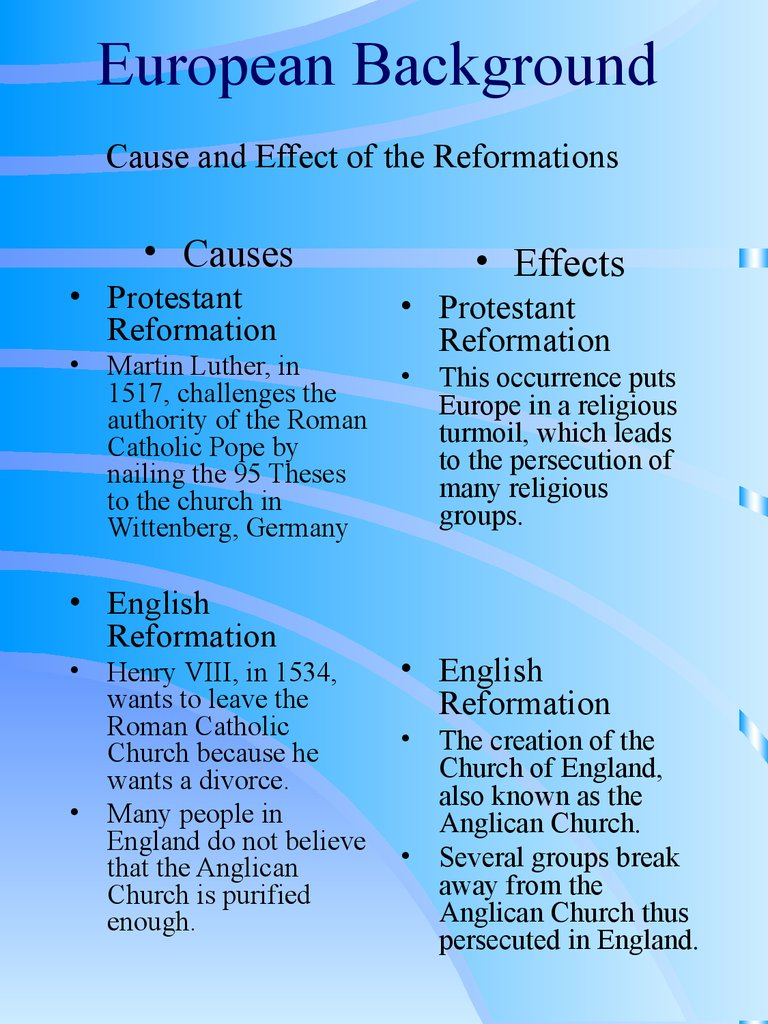 the major causes of the protestant reformation Get an answer for 'what were the main causes of the english reformation  protestant reformation  a major driver of the english reformation.