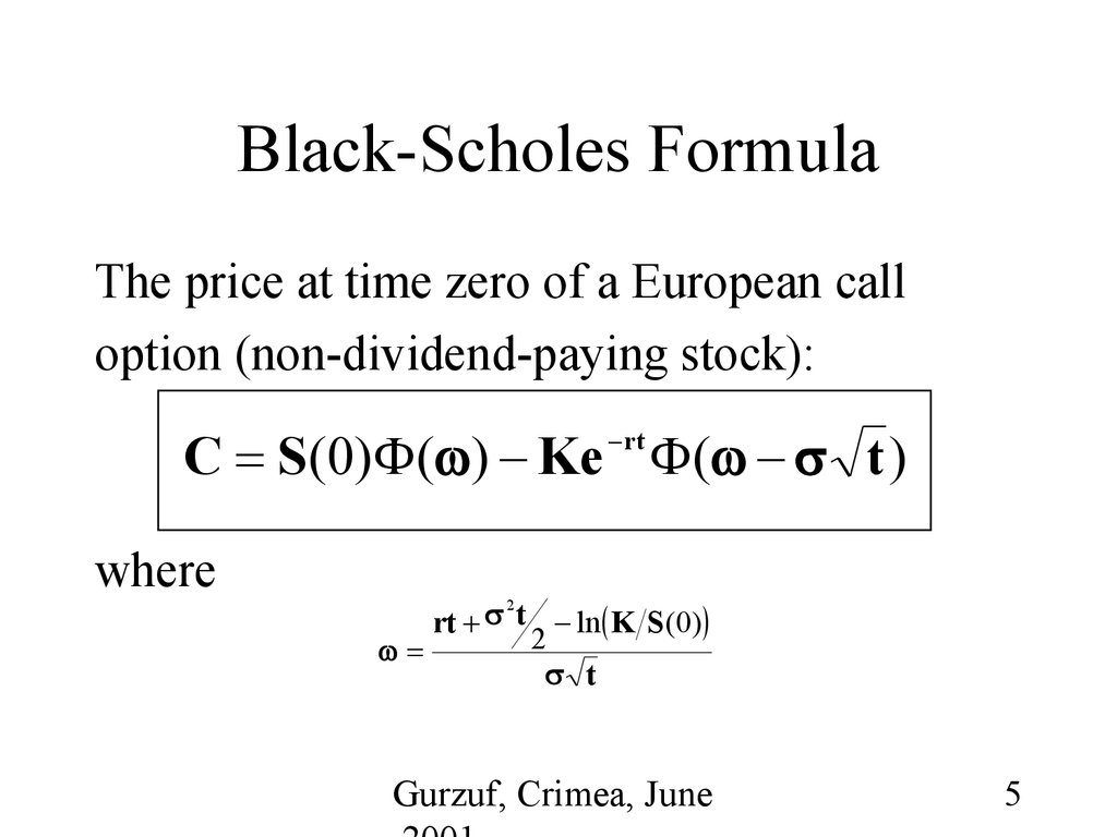 Black scholes formula for binary option