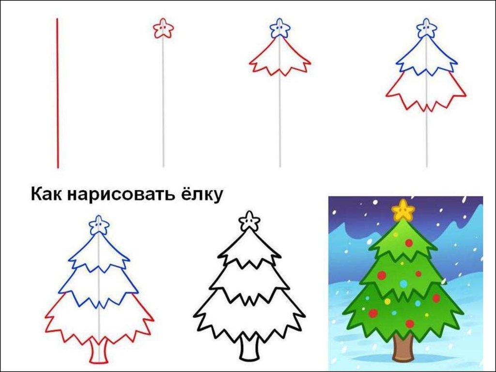 Поетапные рисунки на новый год