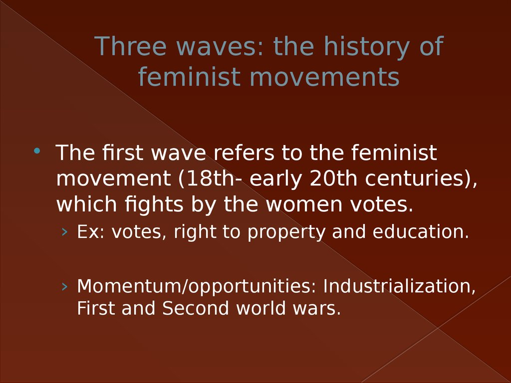 the three waves of feminism With less than three weeks to go until the women's was this going to be a repeat of the first and second waves of feminism, which largely i would like to advance the notion that the remedy for the age-old criticism of feminism is so simple the third wave of feminism must.